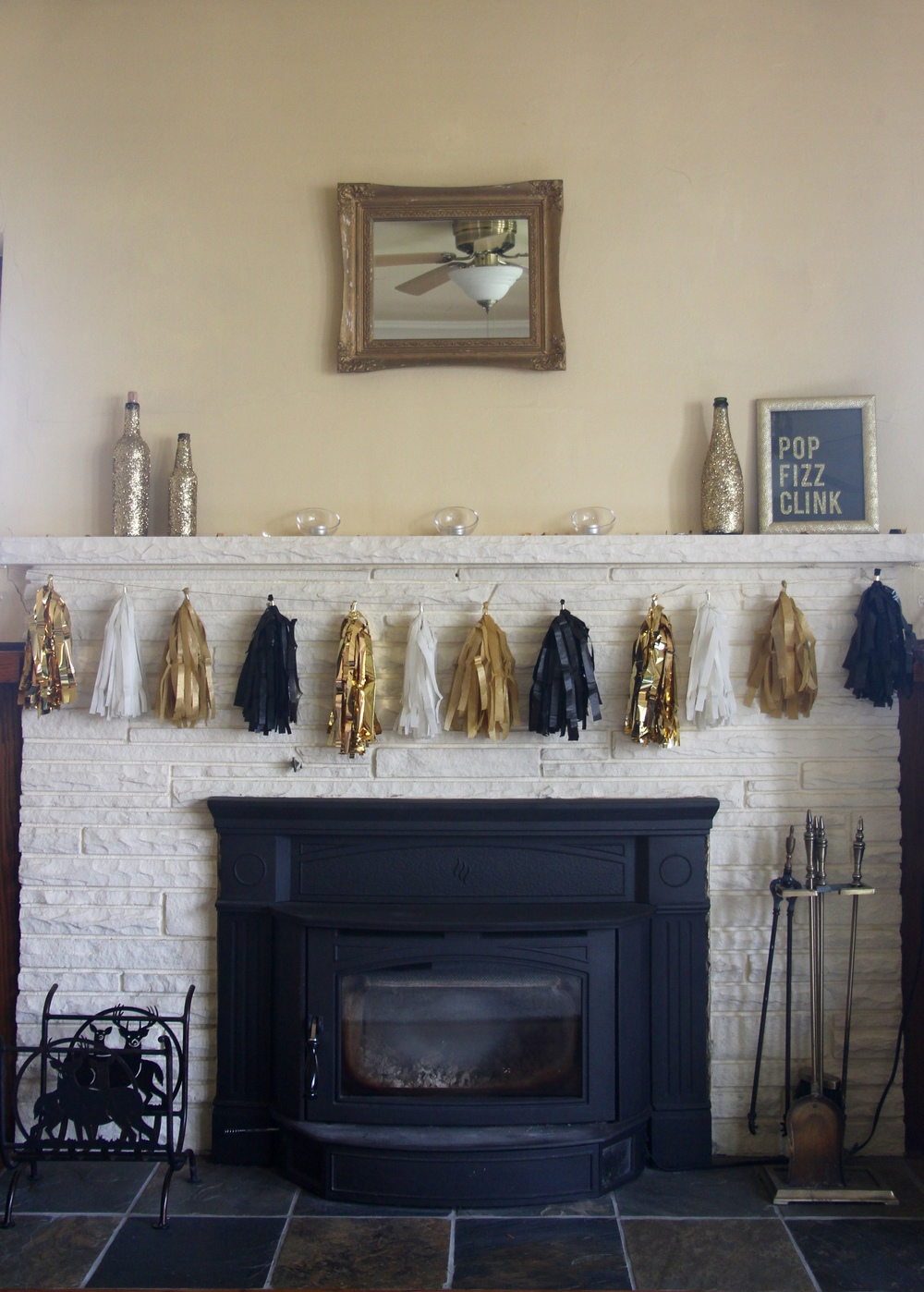 gold and black tassel garland