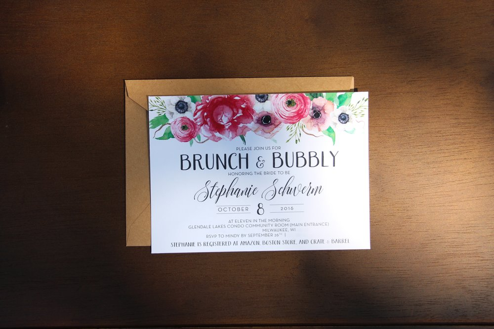 brunch and bubbly bridal shower invite Mindy Larsen