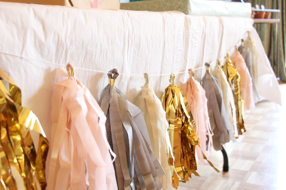 brunch and bubbly bridal shower tassel garland by Mindy Larsen