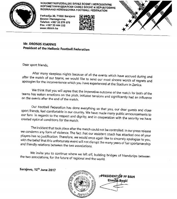 Bosnias apology letter to EPO AGONAsportcom