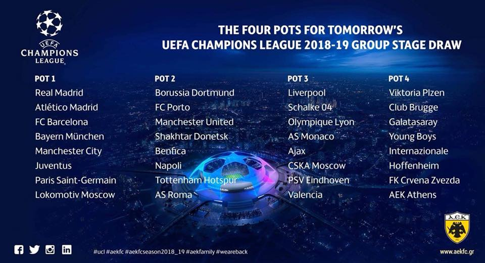 Aek Ready To Discover Champions League Group Stage Opponents