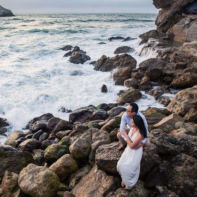 love it when it's high tide at Sutro Bath!  @atew0429 @maryvatt congratulations you two! #wedding #engagementphotos #davidkimphotography #sutrobaths