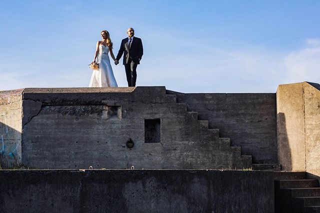 Before I had @azadnia and @halehsakkaki scale the rocky cliff, I had to make sure they can stand at the top of a roof. #davidkimphotography #weddingphotography #bakerbeach #engagementsession #sanfranciscoweddingphotographer