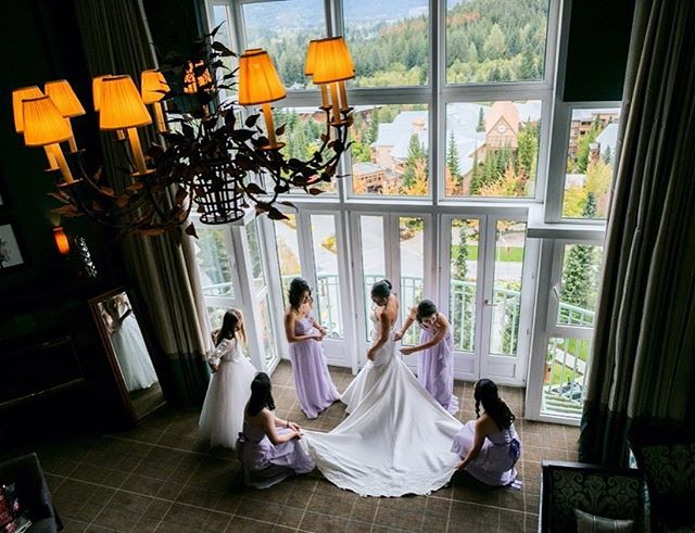 Getting those final touches done before the most important walk down the aisle.  #weddingphotography #whistler #fairmonthotels #bride #davidkimphotography #canadianwedding