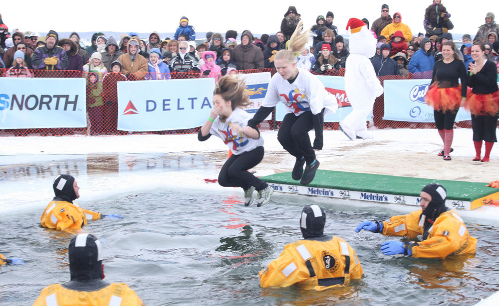 The Polar Plunge is an event where many jump into ice cold water in freezing temperatures.