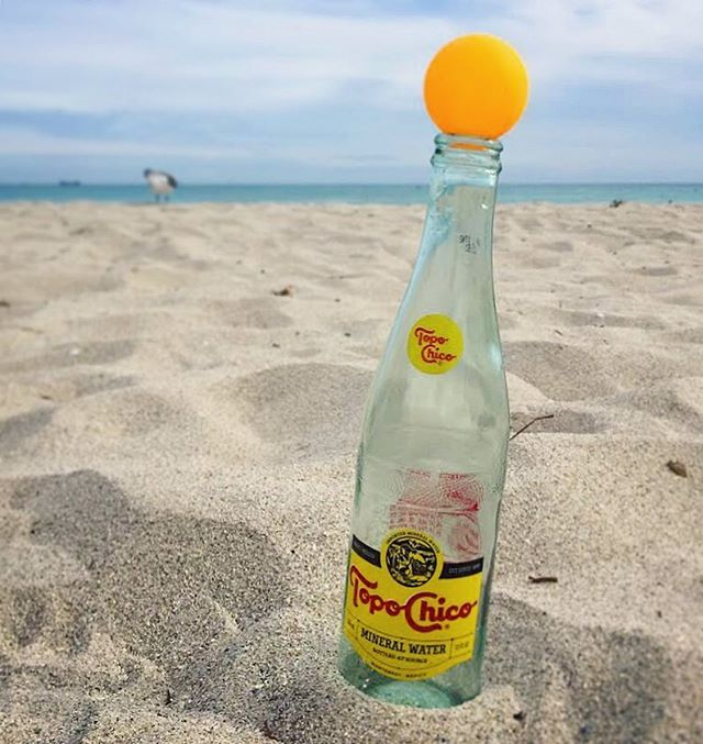 taking a little beach break from filming to enjoy this bubbly elixir-of-the-gods  @topochicousa #topochico #pongroad #pingpong #tabletennis #miami #miamibeach #documentary #webseries #indieseries #newfootage
