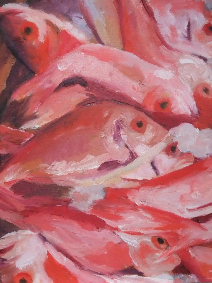 Fresh Fish, Oil on Board, 8 x 8