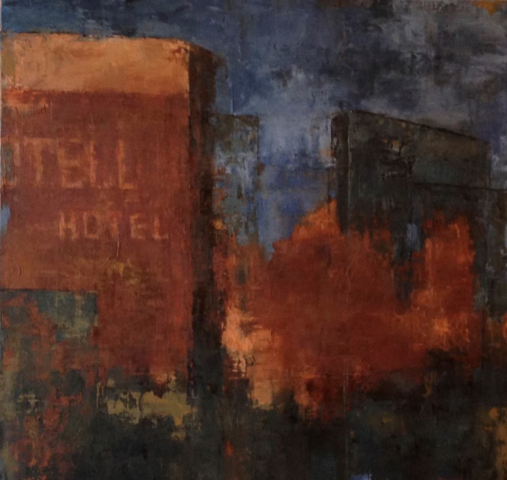 No Tell Hotel, Oil on Board, 24.24