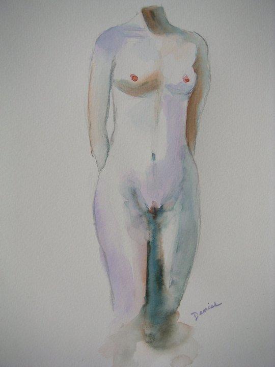 Woman's Torso, Watercolor, 14x20