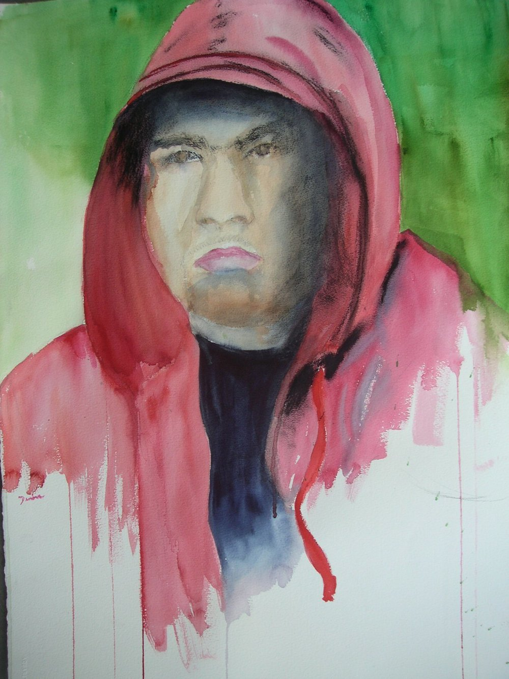 Red Hoodie, Mixed Media, 23x30