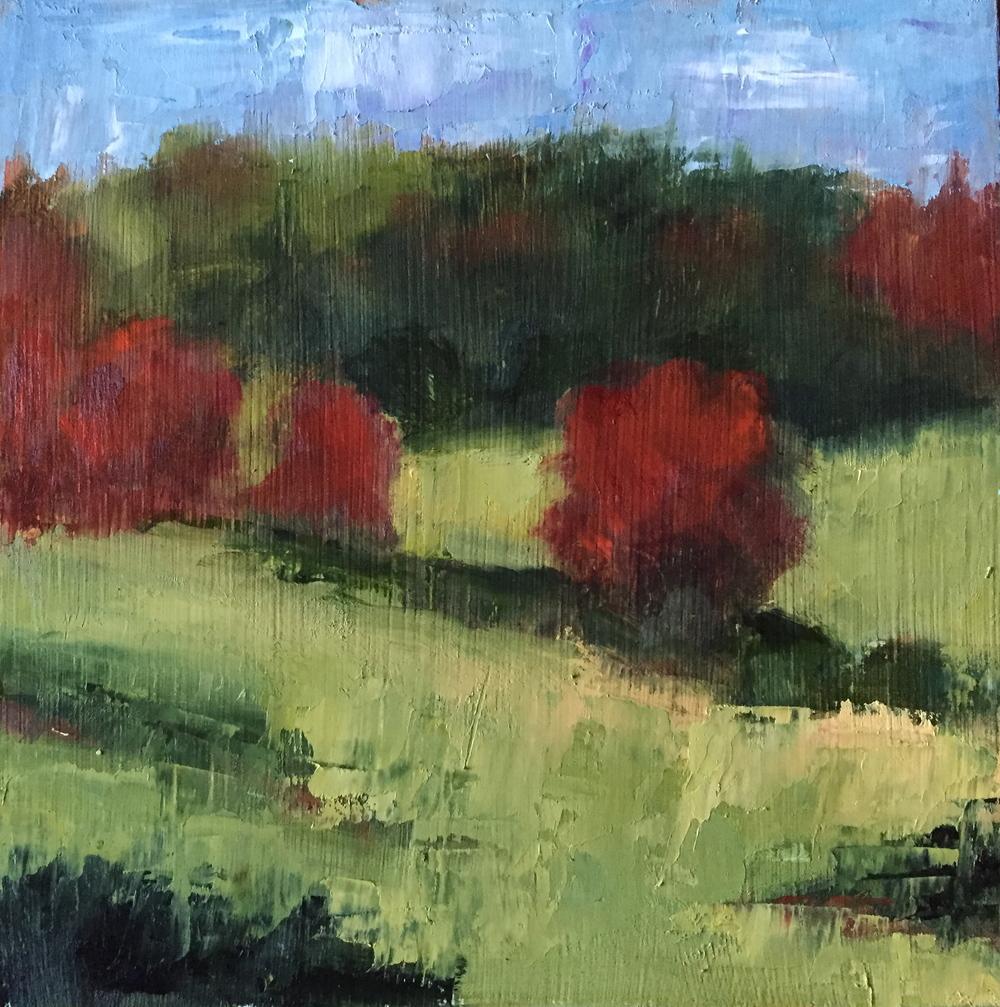 An Elegant Autumn, Oil on Panel, 8x8