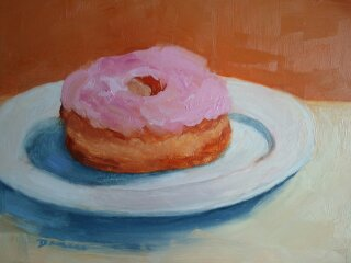 Duncan Donut, Oil on Board, 8x10