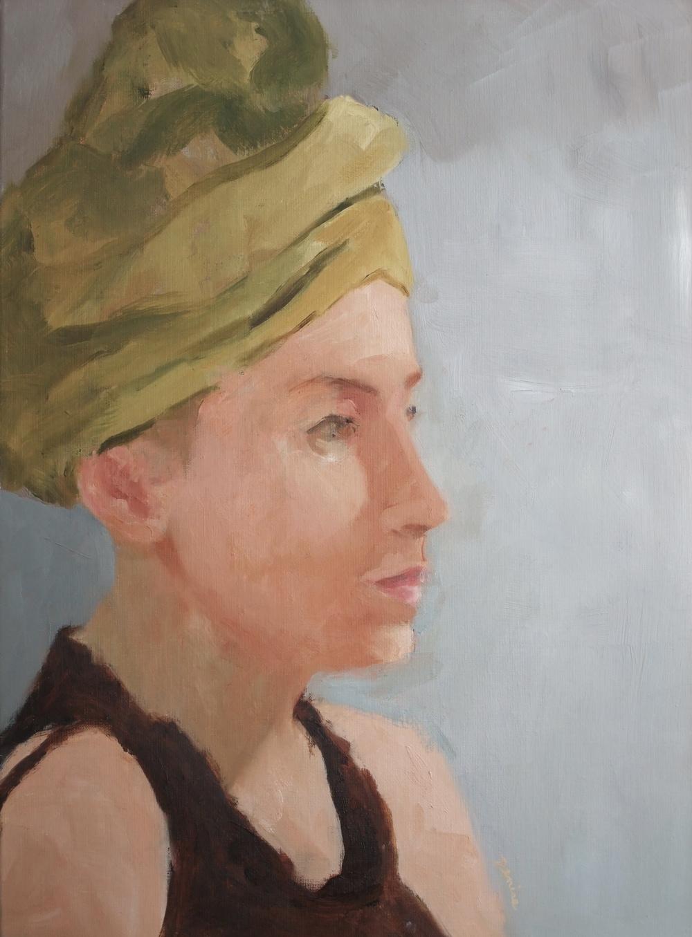 Green Turban, Oil on Canvas, 18x24