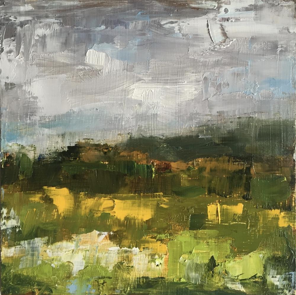 Elverson Sun Flower Field, Oil on Board, 6x6