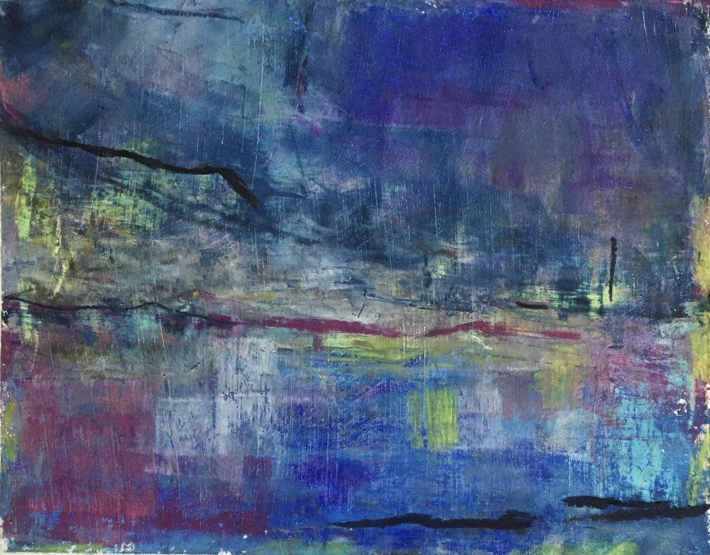 City Lights, Oil Pastel, 5x7