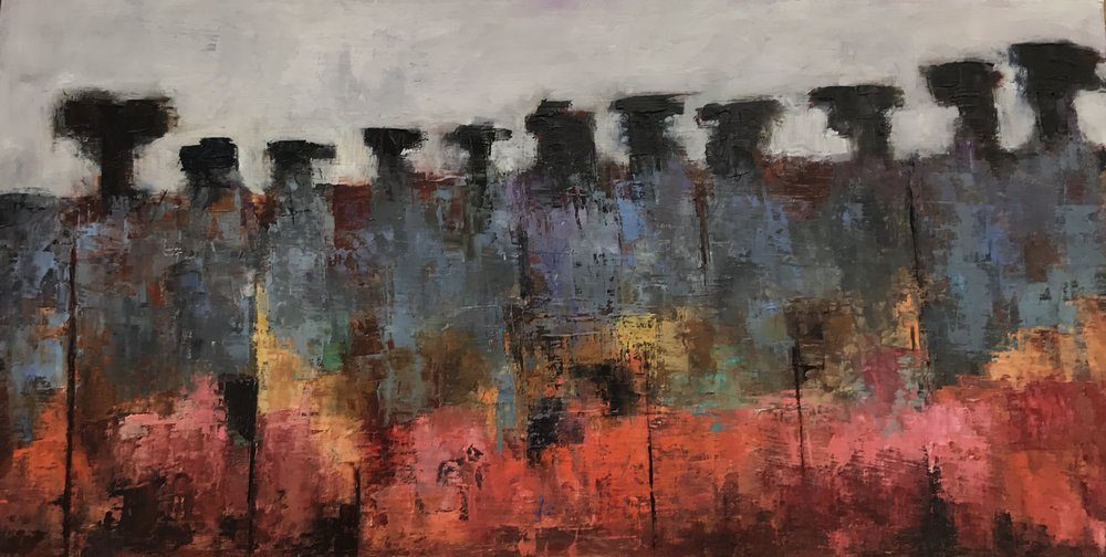"""Inspired at The Old Lukens Steel Mill, Oil on Panel, 12x24"""""""