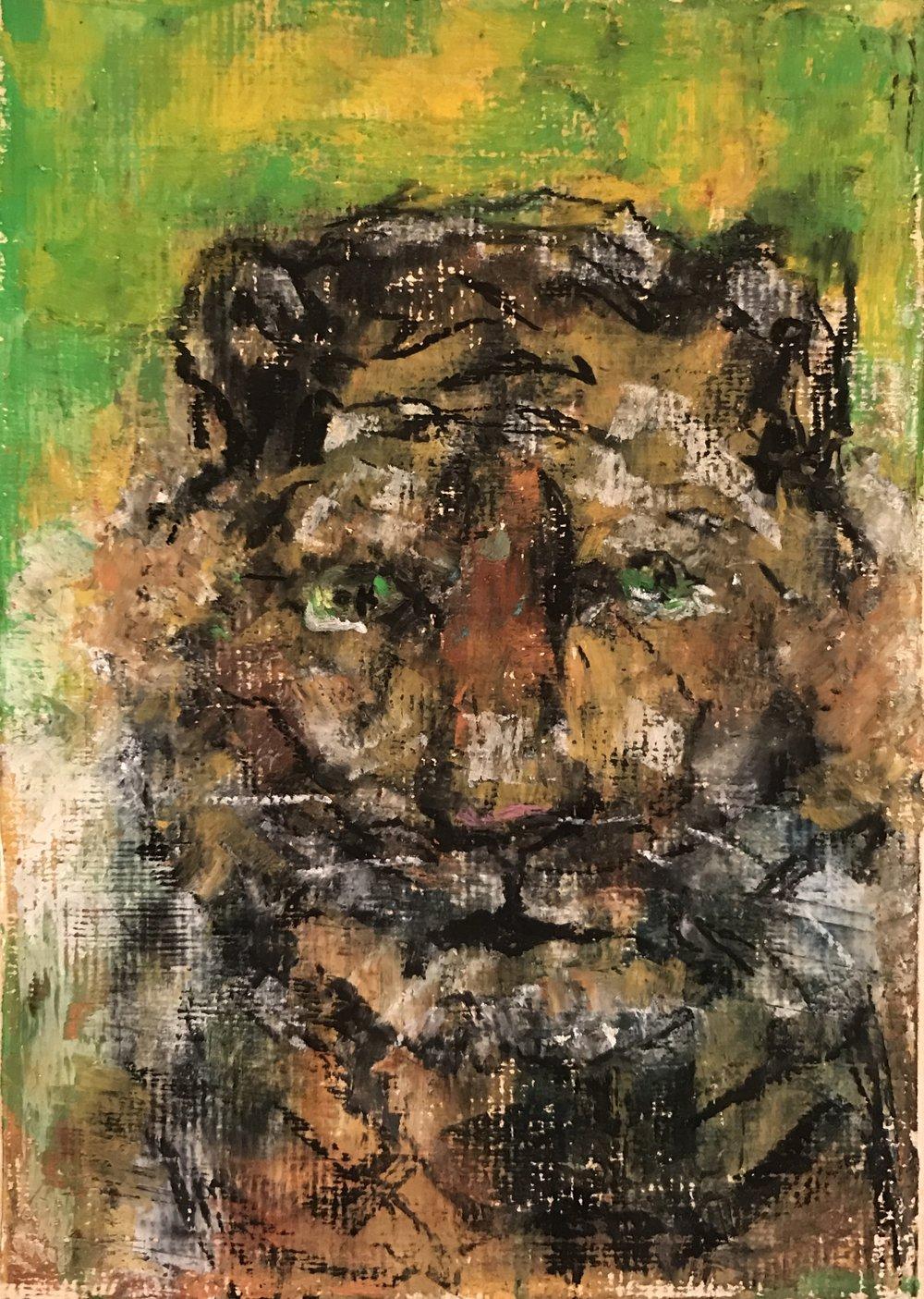 Tiger Man, Oil Pastels, 8x10