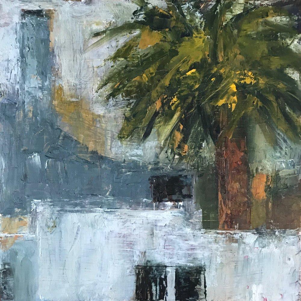 From My Window, Venice, CA, Oil on Board, 6x6
