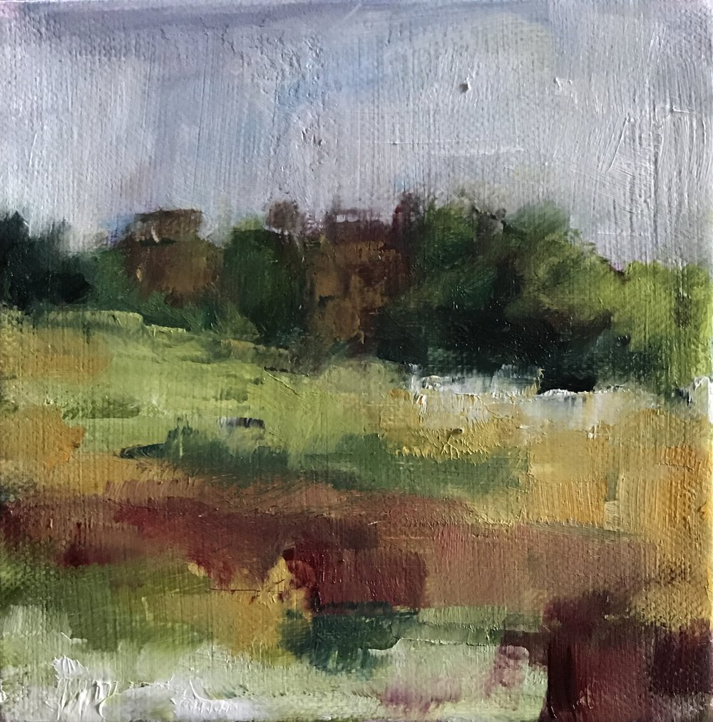 End of Summer at Valley Forge, Oil on Canvas, 6x6""