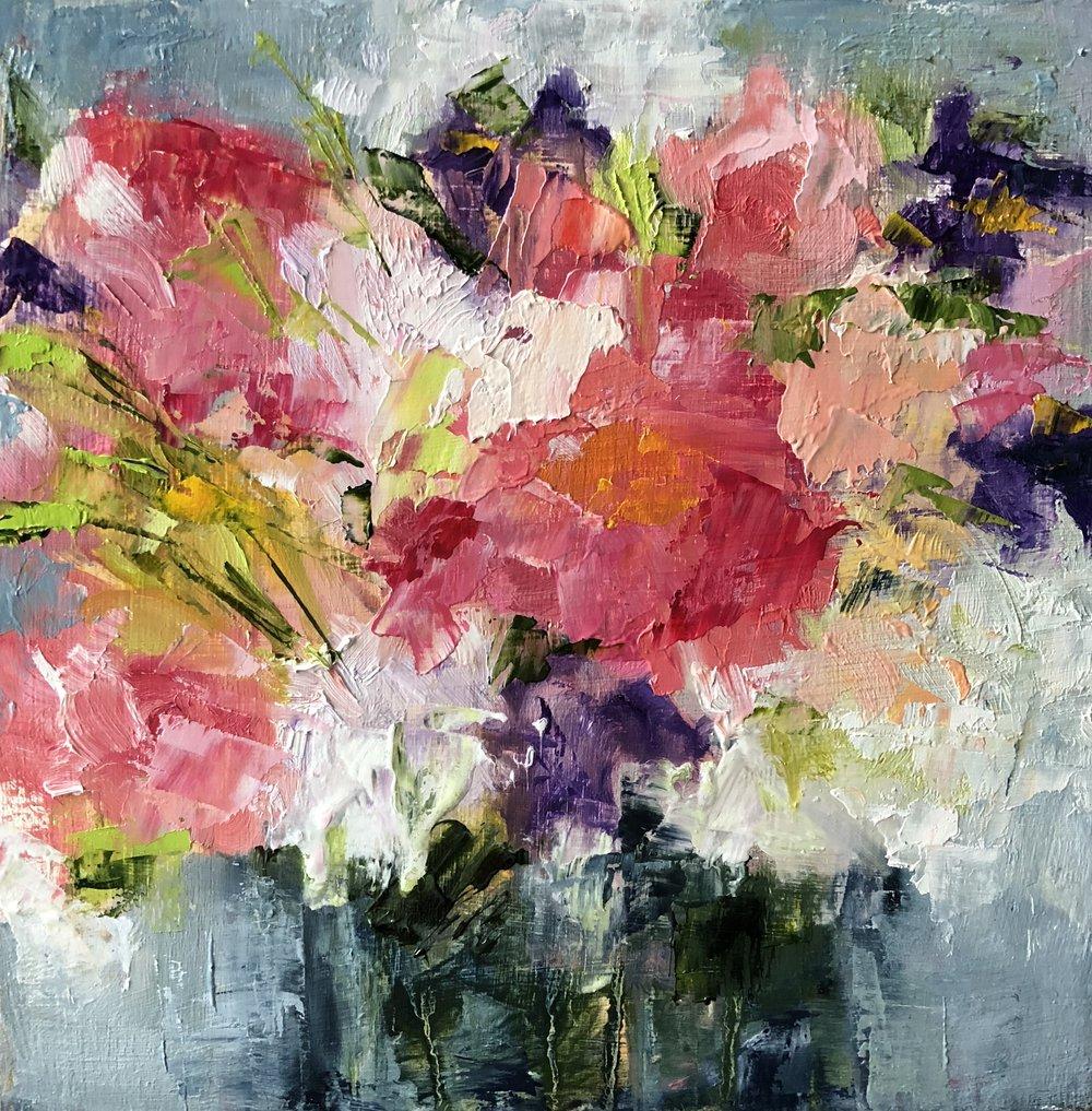 "Happy Bouquet, Oil on Panel, 8""x8"""