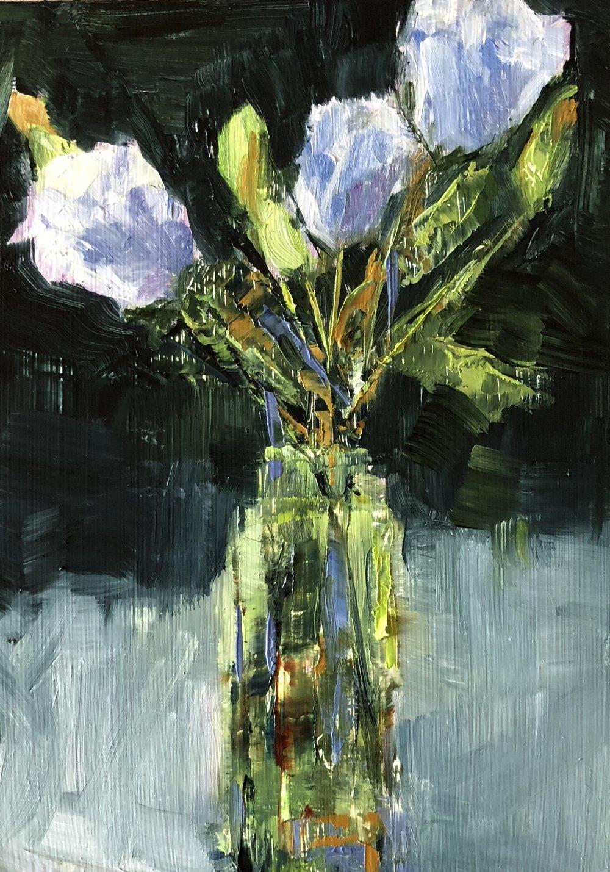 "Rosebuds in Green Glass, Oil on Panel, 5""x7"""