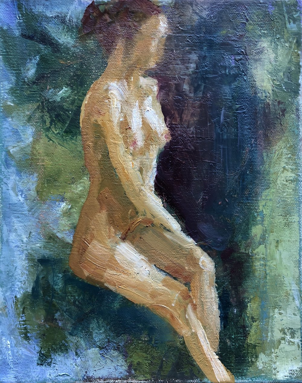 """Nude in the Landscape, Oil on Canvas, 8""""x10"""""""