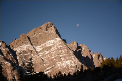 On the approach to Humboldt Peak, I was able to watch the moon set behind The Crestone Needle.