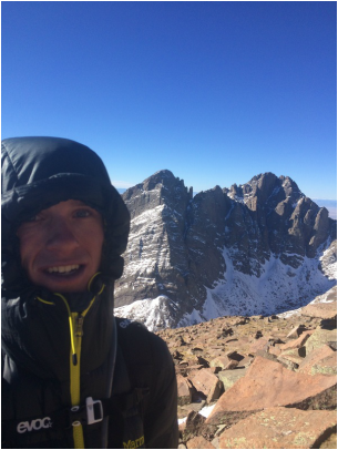 Summit Selfie on top of Humboldt Peak (14,065 ft.) with the Crestone's in the background. The bluebird skies may make it look warm out but I would estimate wind gusts were around 60mph and the temperature with the windchill was well below 0 degrees.