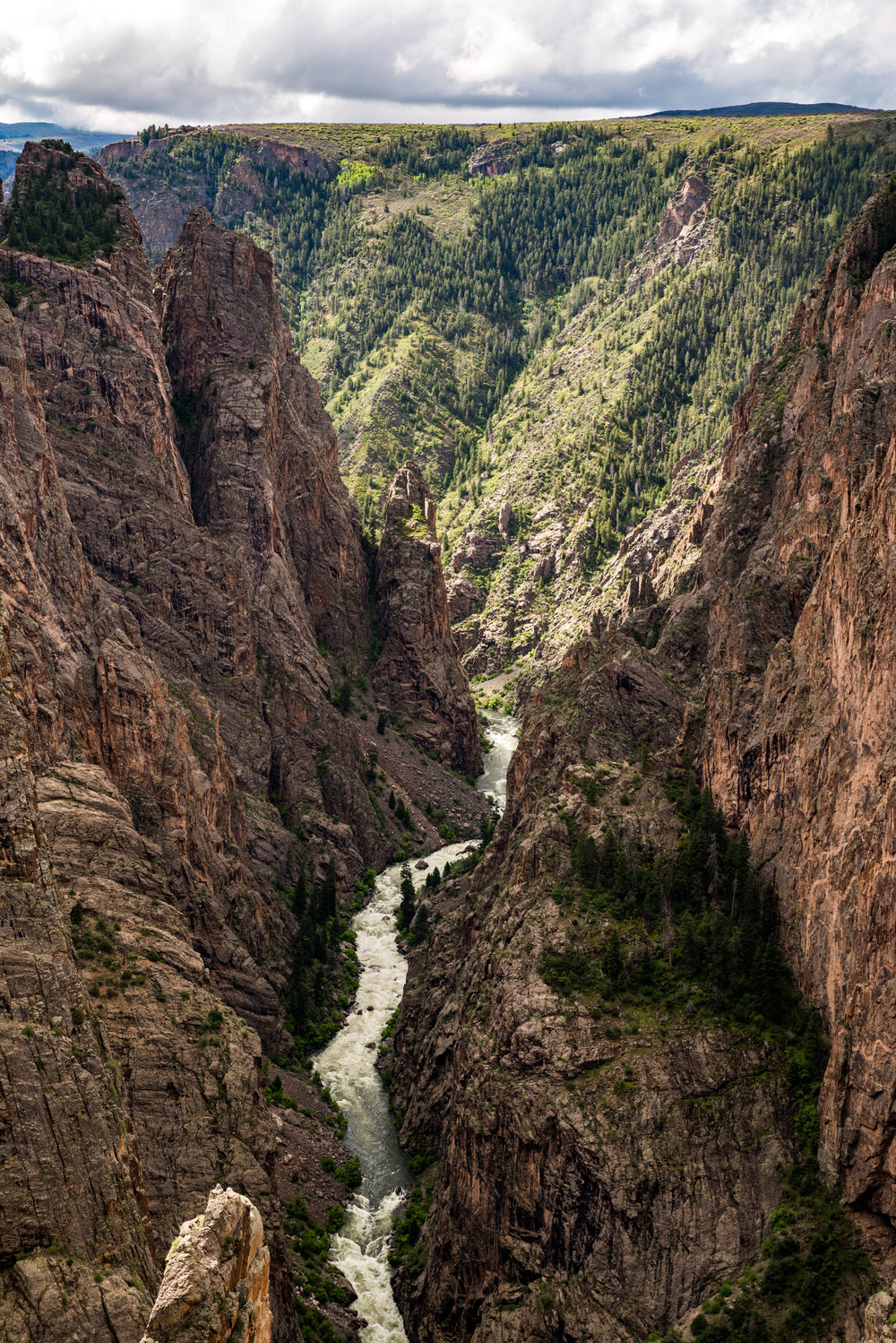 The Gunnison River is currently flowing at 7,000 cfs and is expected to hit 11,000 cfs later this week. The roar of the river can easily be heard 3,000 feet higher from this overlook.