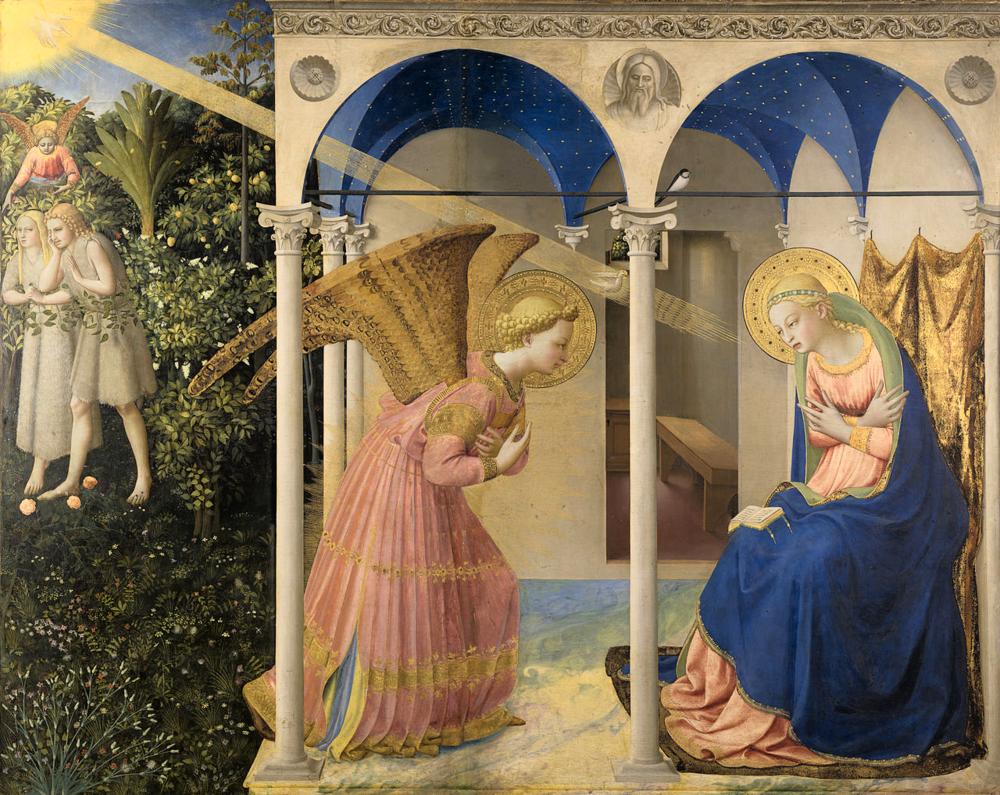 La Anunciación de Fra Angelico, Museo del Prado, Madrid (Click en la imagen para verla completa)