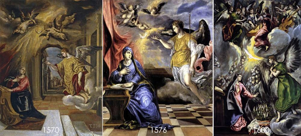 La Anunciación de El Greco, Museo del Prado y Museo Thyssen, Madrid(Click en la imagen para verla completa)