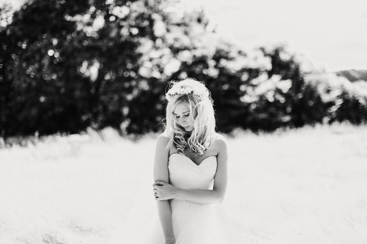 boho bride in hay field in chesham wedding