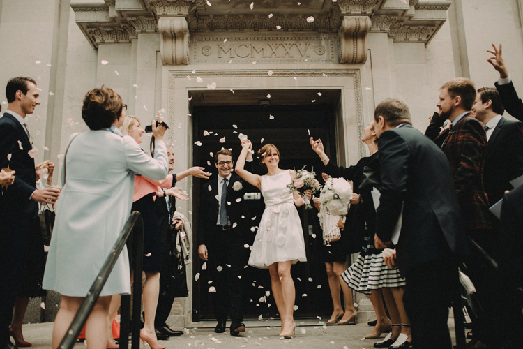 french and russian couple recessional in london islington wedding