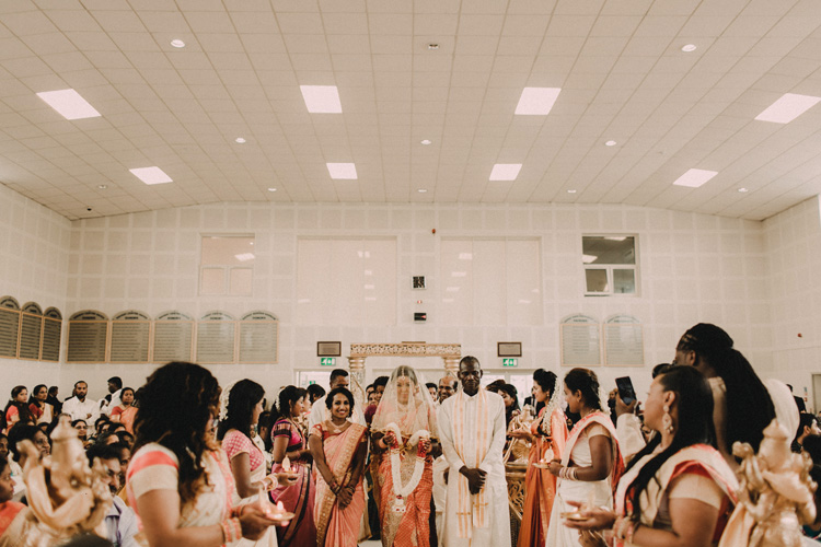 brides precessional to hindu ceremony in london wedding