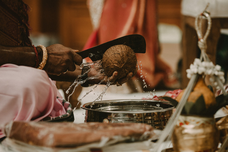 hindu priest opens coconut in traditional hindu ceremony