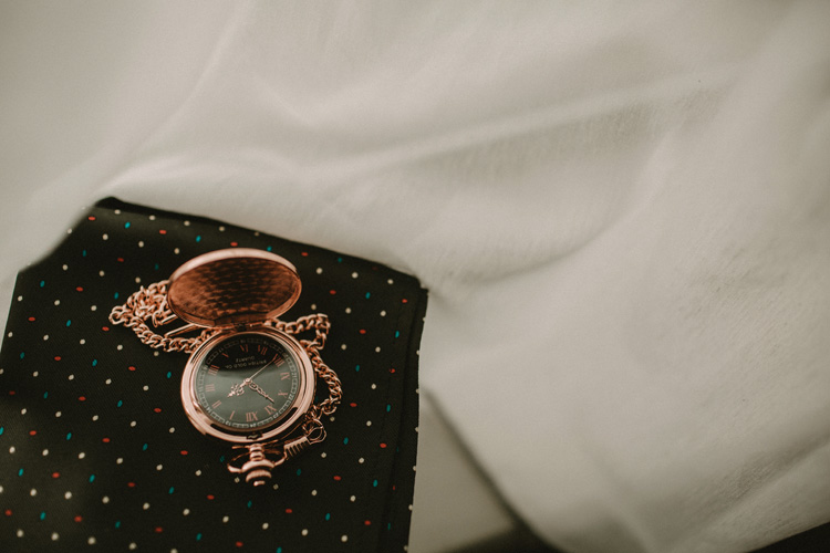 grooms pocket watch at froyle park wedding