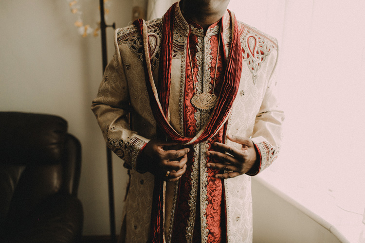 indian groom ready for traditional hindu ceremony