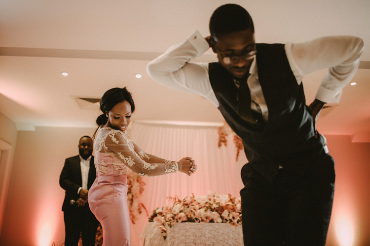 bridesmaid and groomsmen dance in froyle park wedding reception