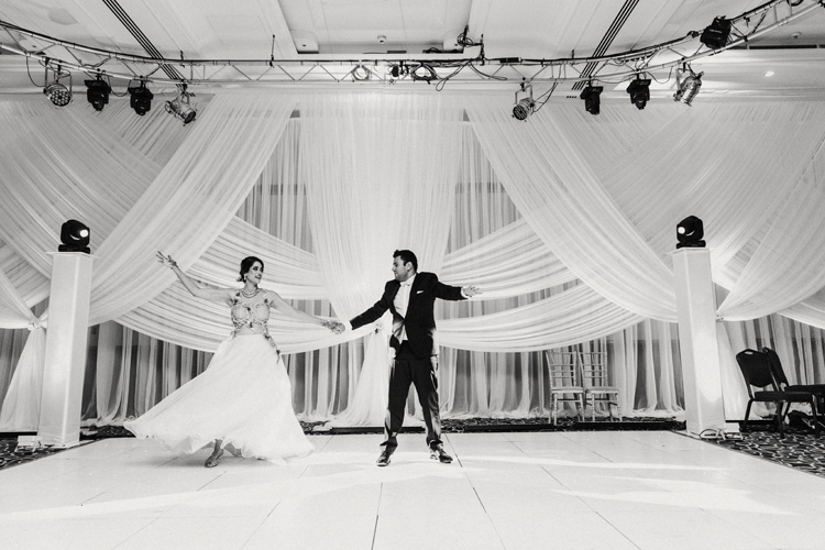 bride and groom share dance at southampton wedding reception