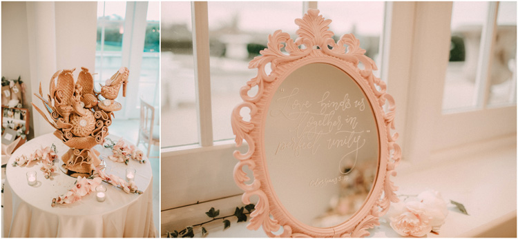 details of mirror and savory dessert at froyle park wedding