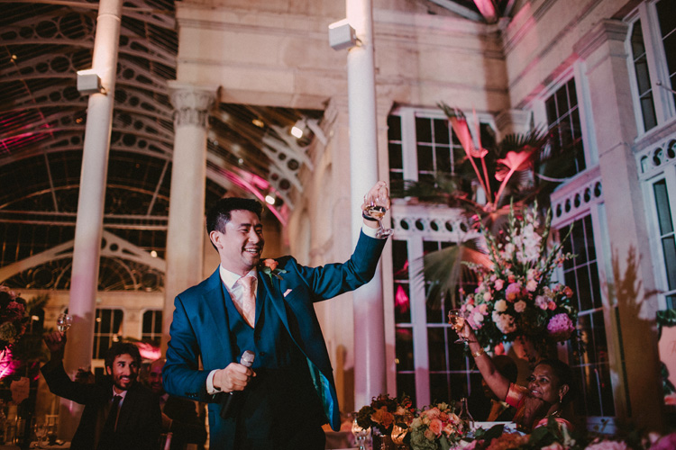 best man offers toast during wedding reception at syon park