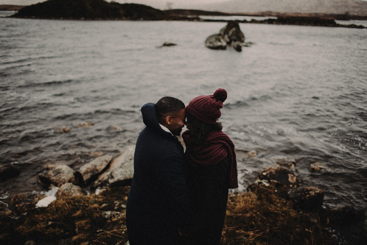 couple share intimate moment touching foreheads in glencoe engagement