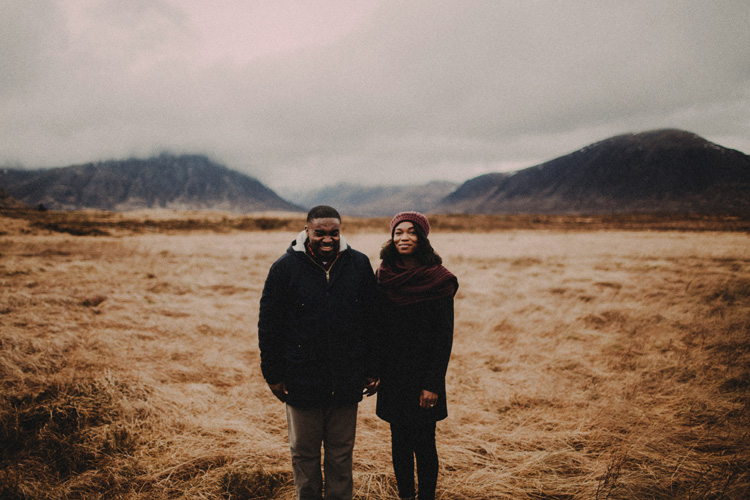 couple share moment laughing during glencoe engagment