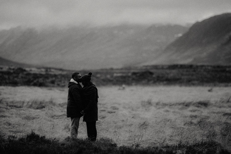 couple share intimate moment touching foreheads during glencoe engagement