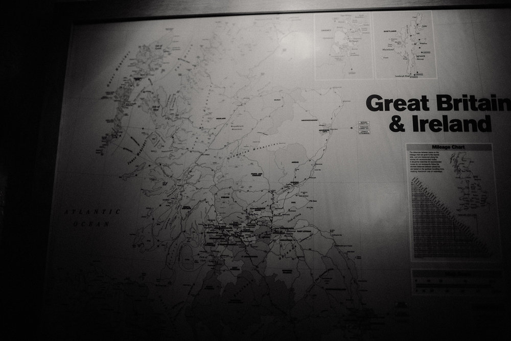 map of Great Britain & Ireland in Edinburgh hotel