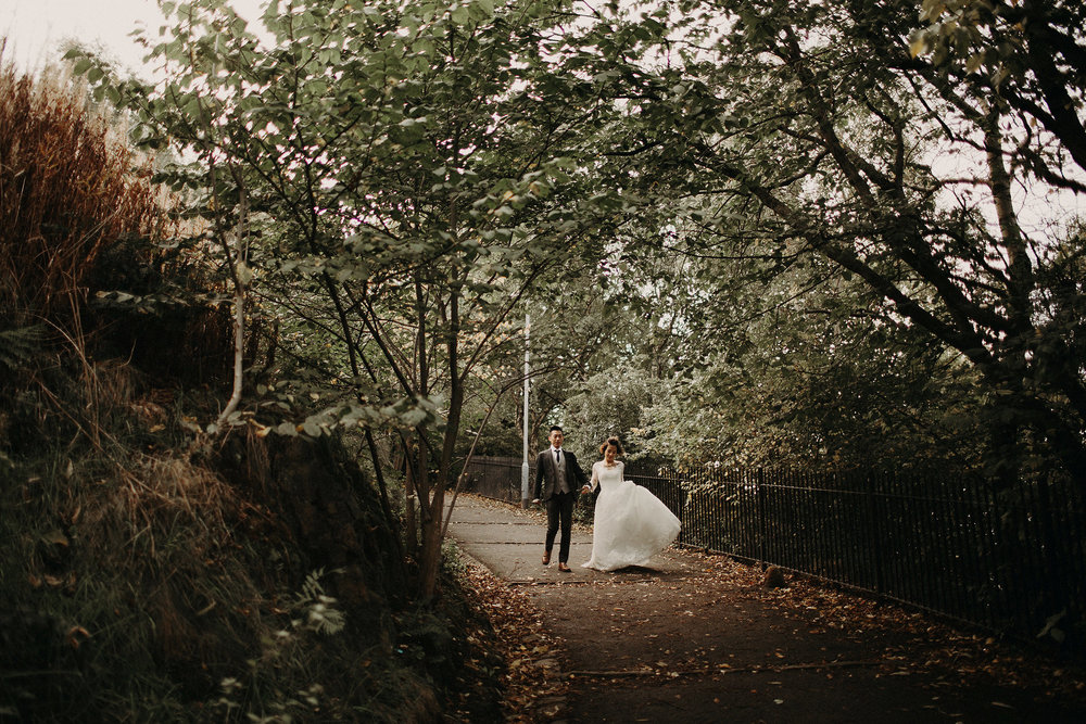 chinese bride and groom walk to elopement location