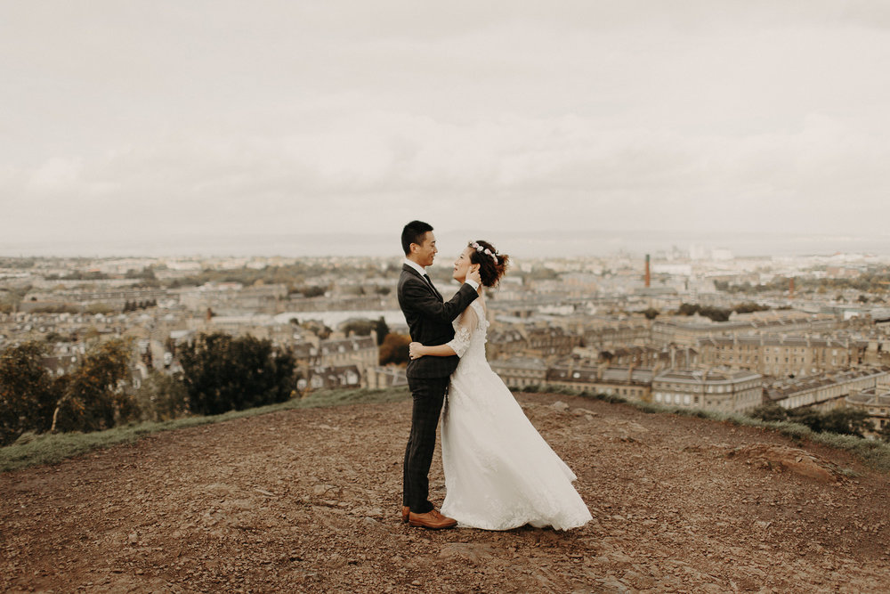 chinese bride and groom at cotton hill in edinburgh elopement