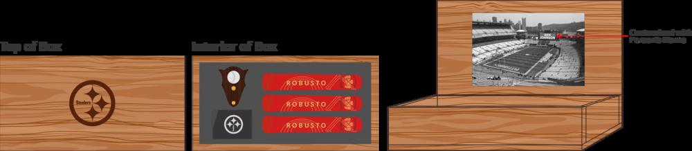 Hardwood 3 Cigars, Cutter & Torch Box