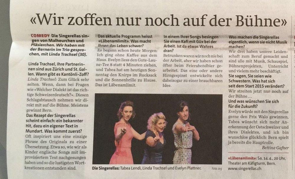 """""""Wir zoffen nur noch auf der Bühne"""", Berner Zeitung, 12.04.2018"""