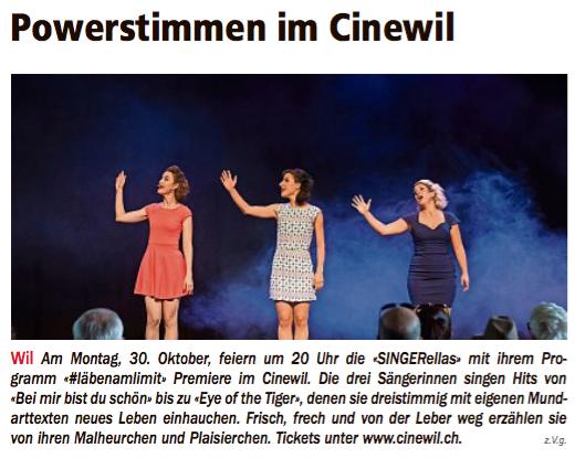"""""""Powerstimmen im Cinewil"""", Wiler Nachrichten, 26.10.17"""